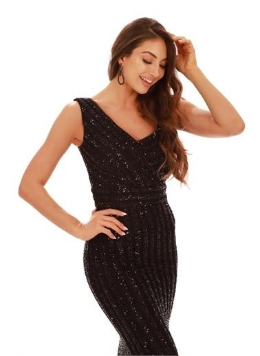 Carmen Çizgili Payetli Uzun Balık Abiye Elbise Siyah